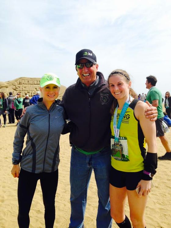 Myself, Shamrock Co-Race Director Jerry Frostick, & Kellie after her 3:16 debut! Look at the huge sand sign in the background!