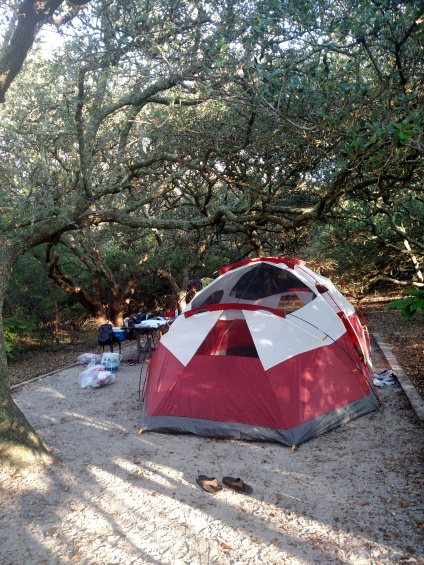 You can camp directly on the beach but we chose the site 100 meters away near the fresh water and restrooms.
